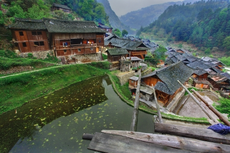 east asia: Langde Village, Guizhou, China - April 16, 2010: East asia, rural South West China, the countryside, the village of Miao ethnic minority in the mountainous region, the season spring. Editorial
