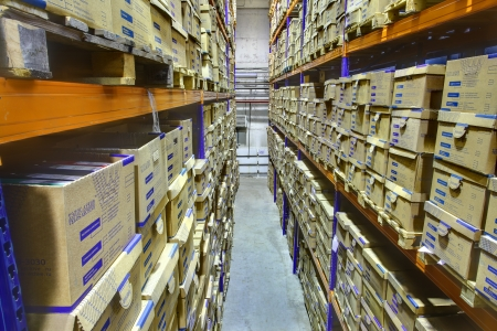 archival: SAINT-PETERSBURG, RUSSIA - DECEMBER 3: Interior warehouse storage of archival documents, shelf racks with boxes, December 3, 2013