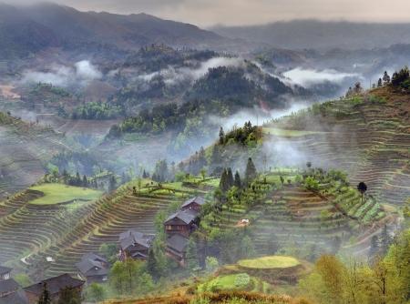Spring fog in mountains of southwestern China Longsheng rice terraces. Stock fotó