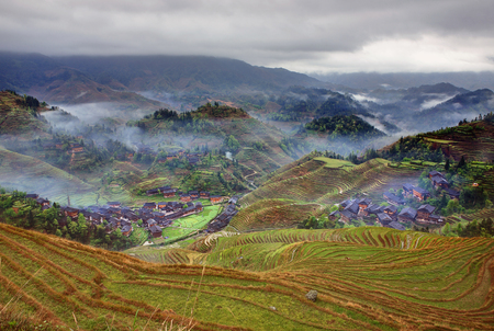 Rice terraces in highlands of southwestern China photo