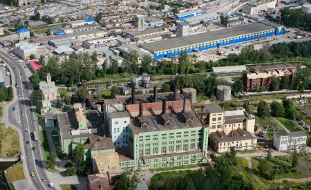 Saint Petersburg, Russia - July 19, 2007: The first power running according to plan electrification in the early 20-ies of XX century CHP Red October in Utkin Creek, Industrial zone in Utkin Creek, aerial view, aerial photography.