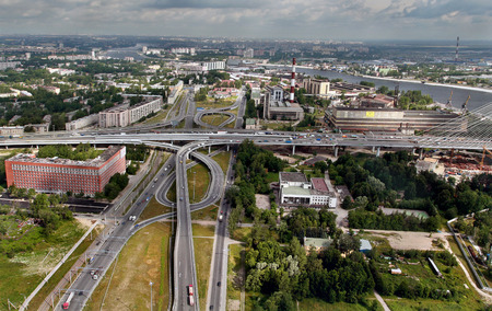 Saint Petersburg, Russia - July 19, 2007: Intersection of Ring Road and Avenue Obukhov Oborony. Road transport interchange before cable-stayed bridge, entrance to ring road.