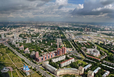 Saint Petersburg, Russia - July 19, 2007: Airview, Moscow district of St. Petersburg is located in south-west of city. Aerial view of Moscow highway, southern entrance to Saint Petersburg, residential quarters, Yuri Gagarin street, and street Lensoveta,