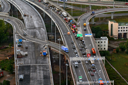 skyway: St-Petersburg, Russia - August 31, 2007: Top view on construction of ring road around Saint-Petersburg. Vehicular traffic on the highway, road congestion, summer, daylight hours,  only for editorial use.