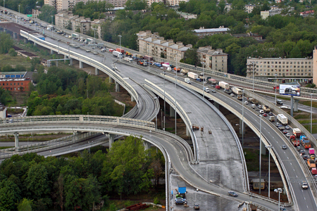 autotruck: St-Petersburg, Russia - August 31, 2007: Vehicular traffic on newly built roundabout ring road around Saint-Petersburg. Editorial