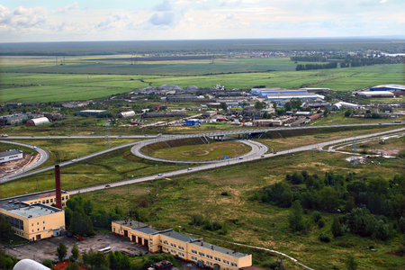 autotruck: St-Petersburg, Russia - August 31, 2007:  Roundabout on ring road, circular intersection.