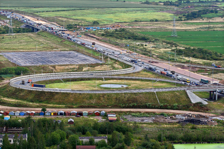 St-Petersburg, Russia - August 31, 2007: Traffic jam vehicle traffic in the area ring road, on the site construct a bridge over the river.
