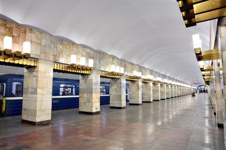 sub station: St. Petersburg, Russia - March 7, 2014:  Internal architecture subway station, Grazhdansky Avenue, underground Saint-Petersburg. Editorial
