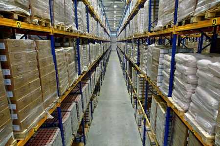 St. Petersburg, Russia - November 21, 2008: top view of pallet shelvings with the goods in a big warehouse store, Interior of a large warehouse, with pallet racking.