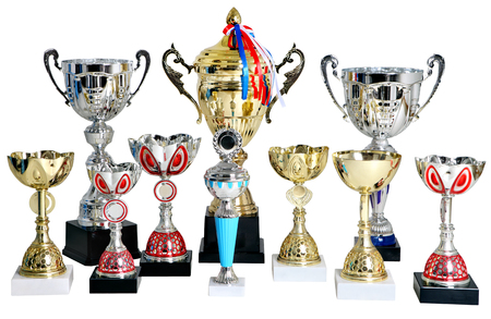 no body: Set of gold and silver trophies, cups winner isolated on white background, no people, no body.