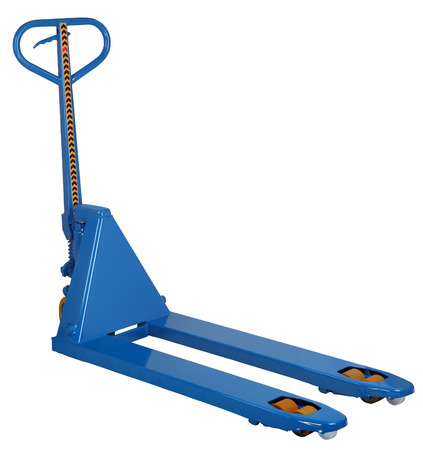 blue hydraulic  fork hand pallet truck isolated on white background photo