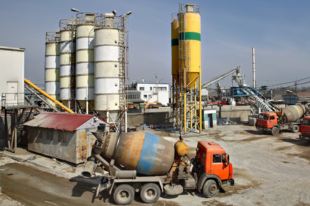 St. Petersburg, Russia - April 27, 2009: Stationary mixed Concrete Batching Plant