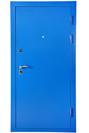 Blue steel reinforced security entrance door, isolated on white background