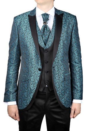 dinner wear: Wedding mens jacket with a turquoise floral ornament for the bride, or prom, isolated on white background.