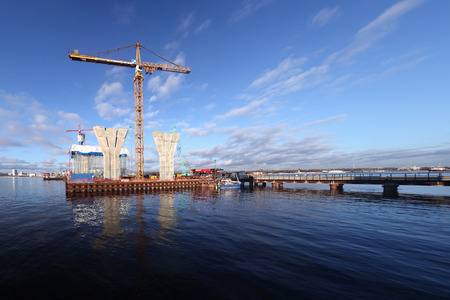 construction platform: St. Petersburg, Russia - October 30, 2014: Construction western high speed diameter. Start of construction of cable-stayed bridge, construction platform in the Gulf of Finland. Temporary technological platforms Editorial