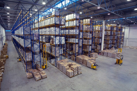 St. Petersburg, Russia - November 21, 2008: Top view of the interior area the warehouse pallet racking storage of goods.