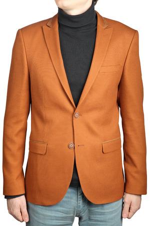 gentleman's: Brown mens blazer, isolated on white background. Orange jacket suit for men.