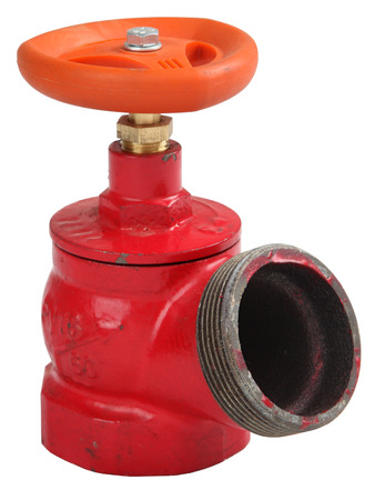 cast iron red: Fire hydrant valve oblique, cast iron red, male threaded coupling for connection of a fire hose, isolated on white background, saved path contour selection.
