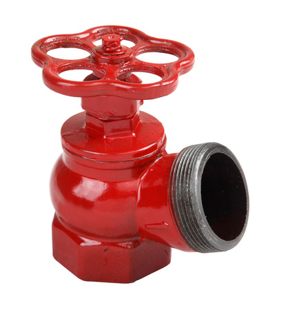 cast iron red: Fire fighting equipment, one isolated on a white background, fire valve made of cast iron, painted in red, oblique fire hydrant valve for indoor use.