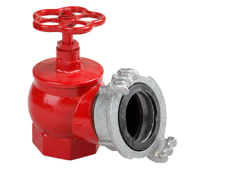 coupling: Iron casting fire hydrant valve, red with fire hose coupling connection, Isolated on white background, saved path contour selection. Stock Photo