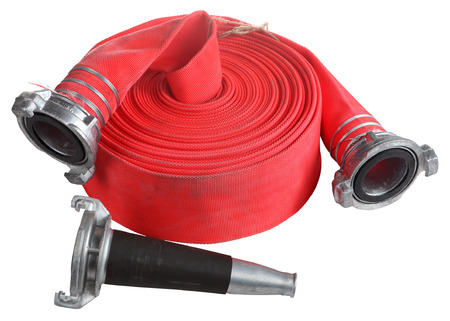 Fire Fighter Industry, Red Fire hose winder roll  reels, fire fighting hose are used for high pressure water spraying, with aluminum nozzle and connecting coupler, isolated object on white background. Stock Photo