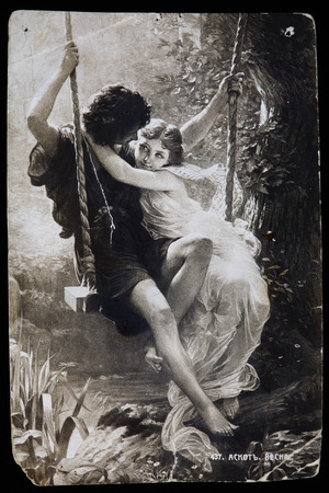 reproduction: Russia-circa 1910-1916: Vintage postcard, Reproduction of antique postcard shows Springtime, French Artist Pierre Auguste Cot.