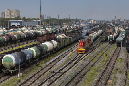boxcar train: St. Petersburg, Russia - May 22, 2015: Railroad Freight Yard many freight cars are lined up in classification yard.