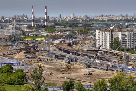 conjunction: St. Petersburg, Russia - May 30, 2015: Top view of the construction of the viaduct junctions Pulkovo roadway and Dunaisky prospect.
