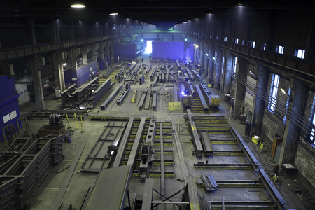 steelwork: St. Petersburg, Russia - May 18, 2015: Production of steel beams for the construction of buildings and bridges in metal shop plant.