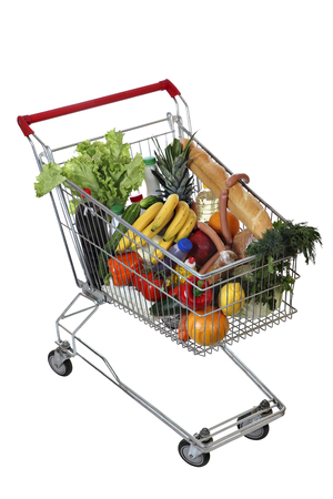 foodstuffs: Filled with food shopping trolley isolated on white background, no body, no people, the path selection is saved.