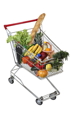 Filled foodstuffs shopping cart isolated on white background, no body, no people, the path selection is saved.