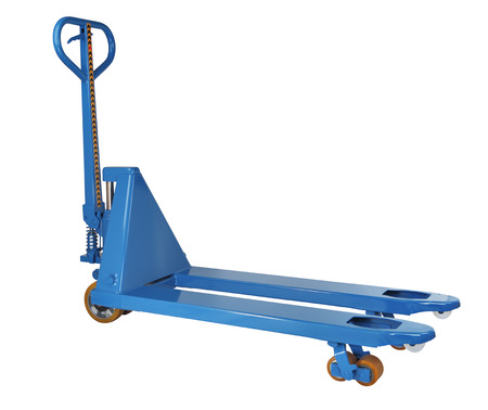hand truck: Blue manual pallet truck, industrial, warehouse equipment, isolated on a white background, saved path selection.