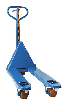hands lifted up: Blue Hand hydraulic pallet truck, pump, jack, platform in the lifted position, the fork trolley, isolated on a white background, saved path selection.