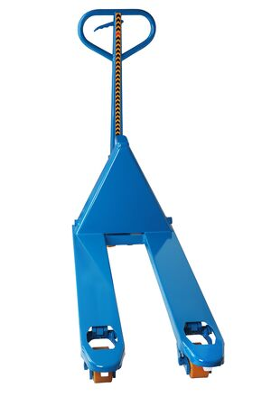 lowered: Blue manual forklift hydraulic pallet truck  isolated on a white background, saved path isolation Stock Photo