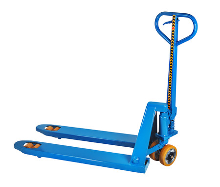 pallet truck: Blue manual hydraulic pallet truck fork, pump jack isolated on white background, saved path selection.