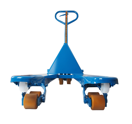 pallet truck: Blue manual hydraulic pallet truck,  jigger,  to lift and move pallets,  isolated on white background, saved path selection.
