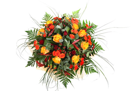 Mixed roses, floristic arrangement of orange, yellow and red roses, floral compositions, colorful bouquet roses isolated over white background.