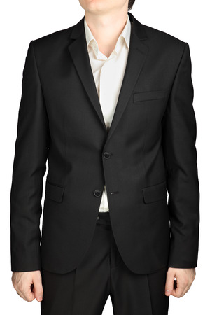 dress code: Grey mens jacket two buttons buttoned, white shirt without a tie, dress code cocktail isolated on white background. Stock Photo