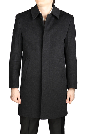 kerseymere: Demiseason mens cashmere coat of dark gray color, isolated on white background. Stock Photo