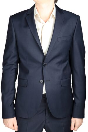 dinner wear: Classic business suit for men, gray blue, isolated on white