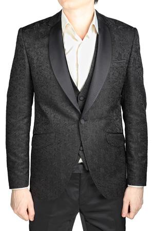 eveningwear: Dark gray pattern wedding dress groom, no tie, isolated on white.