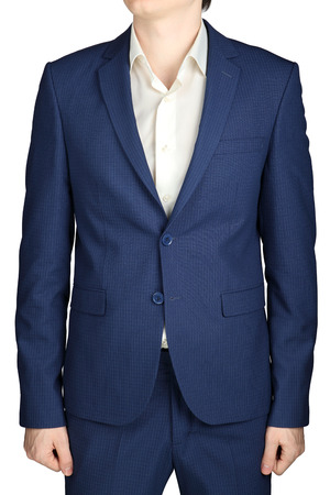 without clothes: Dark blue in a small checkered formal men suit jacket, isolated on white background.