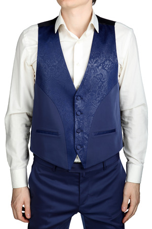 eveningwear: With blue patterned vest for mens wedding suit groom isolated on white background.