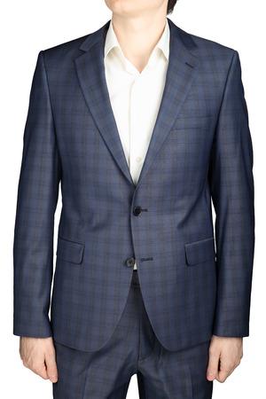grizzle: Gray blue plaid suit blazer men wedding attire bridegroom, isolated over white. Stock Photo