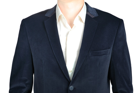 blazer: Close-up velvet navy blue mens blazer, isolated over white. Stock Photo