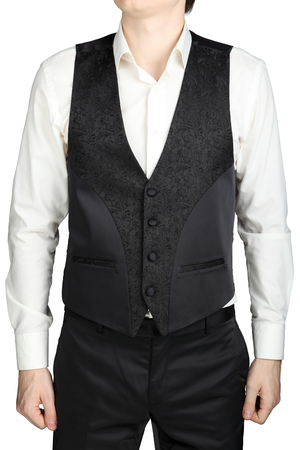 Dark gray patterned waistcoat wedding suit groom isolated on white background.