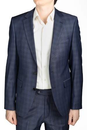 blue grey coat: Unbuttoned gray-blue checkered jacket men wedding suit groom, isolated on white.