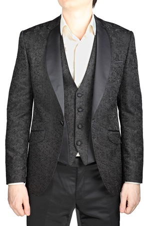 eveningwear: Male wedding suit gray pattern, suit jacket unbuttoned, vest, white shirt no tie, isolated on white. Stock Photo