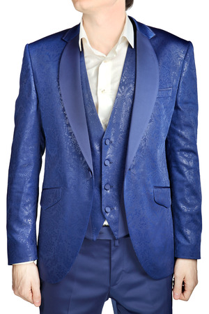 eveningwear: With blue floral pattern, unbuttoned suit jacket wedding bridegroom with a vest and a white shirt with no tie, isolated on white. Stock Photo