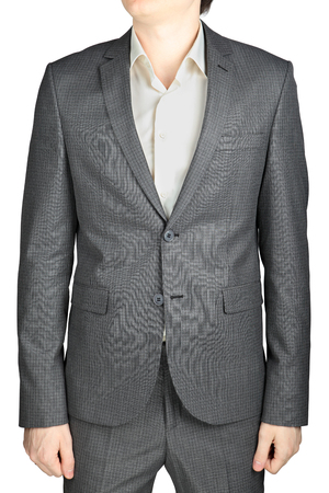 checkered pattern: Mens wedding suit gray checkered pattern, a small square, isolated on white background Stock Photo